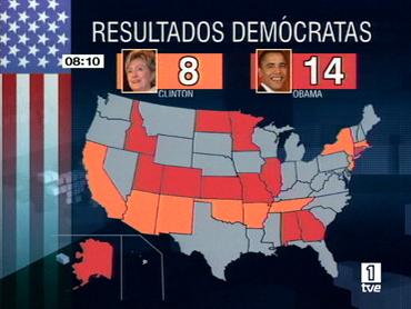 GRÁFICO: Mapa con los resultados de Clinton y Obama